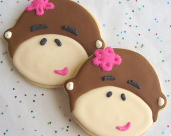 Lil Monkey Cookie Favors - Monkey Cookies - Monkey Decorated Cookies - 1 Dozen