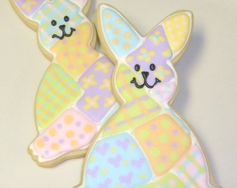 Patchwork Bunny Cookies - Baby Shower cookies - Easter Bunny Cookies - 6 Cookies