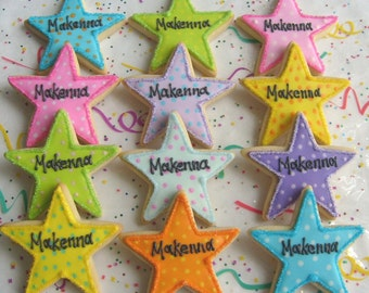 Colorful Star Decorated Cookies - Star Cookie Favors - Star Decorated Cookie Favors - Cookie Gift - 1 dozen