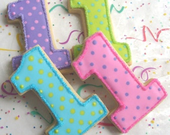 Number One Cookies - First Birthday Cookies - Favors - Number Cookie favors - 1 Dozen