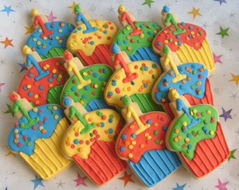 CUPCAKE Cookies - Cupcake Decorated Cookies - Birthday Cookies - 1 dozen