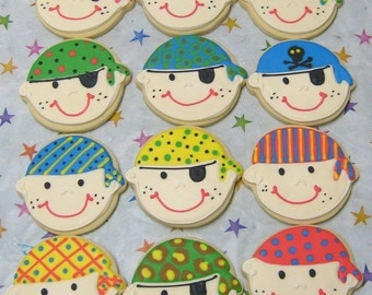 Pirate Face COOKIE FAVORS - Pirate Party Cookies - Girl Pirate Cookies -  Pirate Decorated Cookies - 1 Dozen