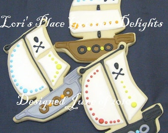 Pirate Ship Decorated Cookie Favors - Pirate Ship Cookies - 1 Dozen