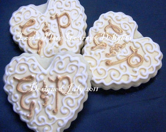 Monogrammed Heart Wedding Cookie - 12 Cookies