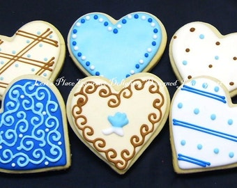 Blues and Browns - Heart Cookies - Valentines Day Cookies - 12 cookies