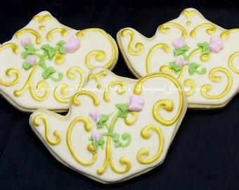 Teapot Wedding Cookies - Wedding Cookie Favors - Teapot Cookies - 1 Dozen