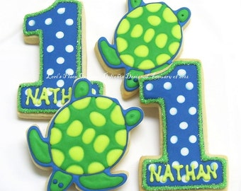 Turtle 1st Birthday - 1st Birthday Cookies - Turtle Cookies - 1 Dozen