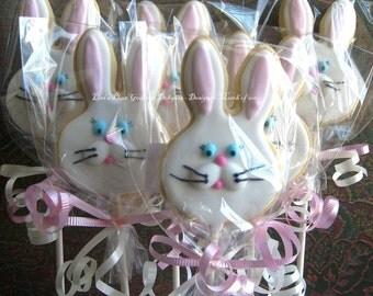 Bunny Cookie Pops - Bunny Cookies - 1 Dozen