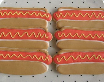 Hot Dog - Decorated Cookie Favors - 1 - Dozen