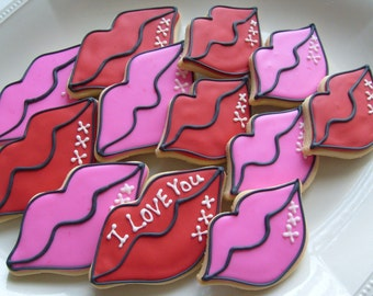 SMOOCHES - Lip Decorated Cookie Favors - Valentines Day Decorated Cookies - 1 Dozen