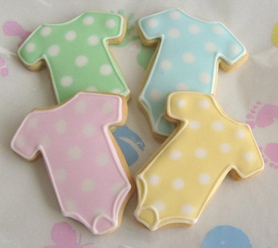 Polka Dot Baby Onesie Cookie Favors Baby Onesie Decorated