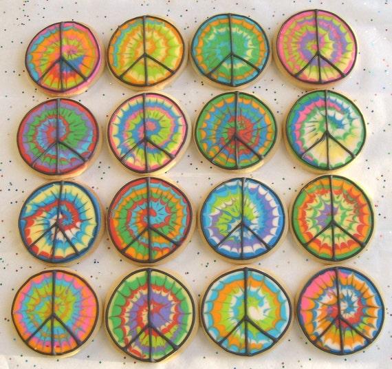 TYE DYE Peace Sign COOKIES - Tye Dye Decorated Cookies - Peace Sign Cookies - 1 Dozen