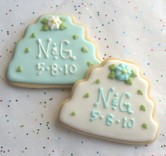 Reserved for Mary----Personalized Wedding Cake Cookies - Monogrammed Wedding Cookies - Wedding Cake Cookie Favors -1 Dozen