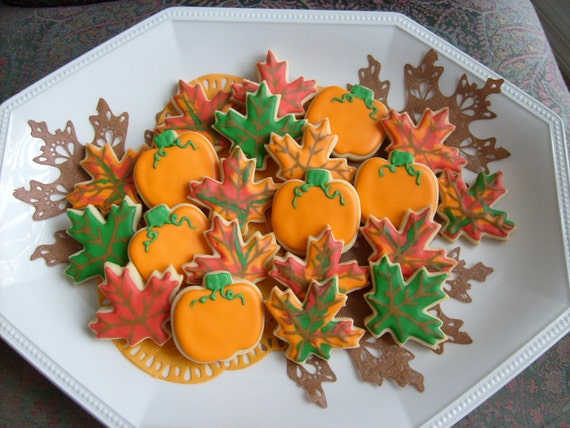 Reserved for Dorothy---Mini Autumn Mix - Fall Decorated Cookies -Pumpkin and Leaves Decorated Cookies  - 2 dozen
