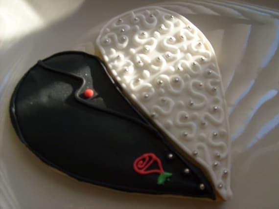 Reserved for Rachelle---Wedding Day Bliss -  Heart Wedding Cookie Favors - Tux Cookie Favors - Gown Cookie Favors - 4.00 each