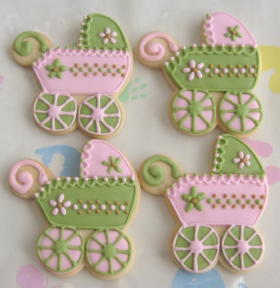 Reserved for Cathleen---PINK and SAGE Baby Shower Cookies - Baby Carriage Cookies -  Baby Bib - Baby Bottle - Baby Rattle - 1 Dozen
