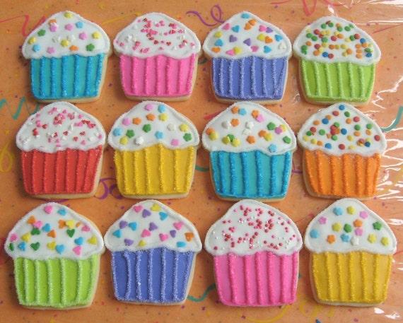 Rainbow Sparkle Cupcakes - Cupcake Decorated Cookies - Cupcake Cookies - Birthday Decorated Cookies 1 Dozen