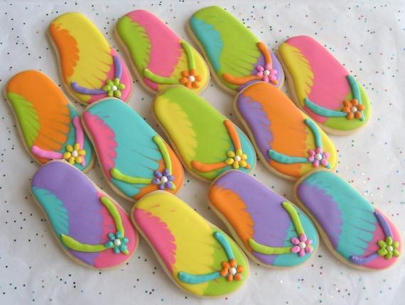 FLIP FLOP Cookie Favors - Flip Flop Decorated Cookies - 1 Dozen