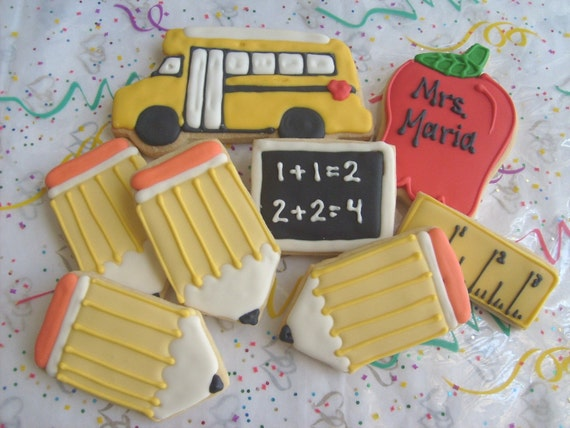 SCHOOL DAZE - School Cookies - Teacher Cookies - Teacher Gifts - 8 Cookies