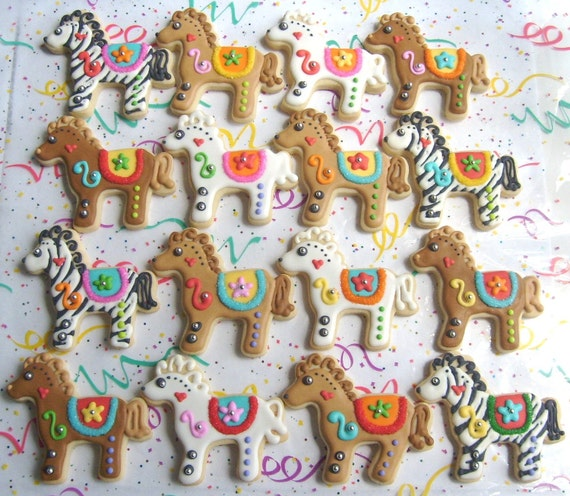 Reserved for Anne----Carosel Horse Cookies - Horse Cookies - 1 Dozen