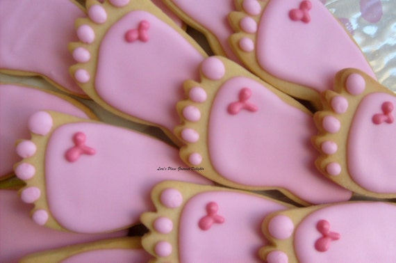 Reserved for Sheena---BABY FEET Cookie Favors - Baby Feet Cookies -  Baby Shower Cookie Favors - Baby Feet Decorated Cookie Favors -1 Dozen
