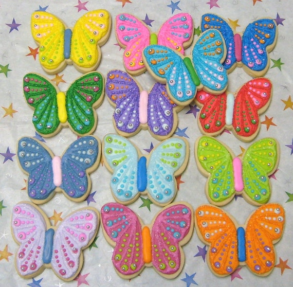 SPARKLE BUTTERFLIES - Butterfly Cookie Favors - Butterfly Decorated Cookies - 12 Cookies