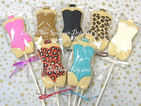 Lingerie Cookies - Sexy Torso Cookie Pops - 1 Dozen