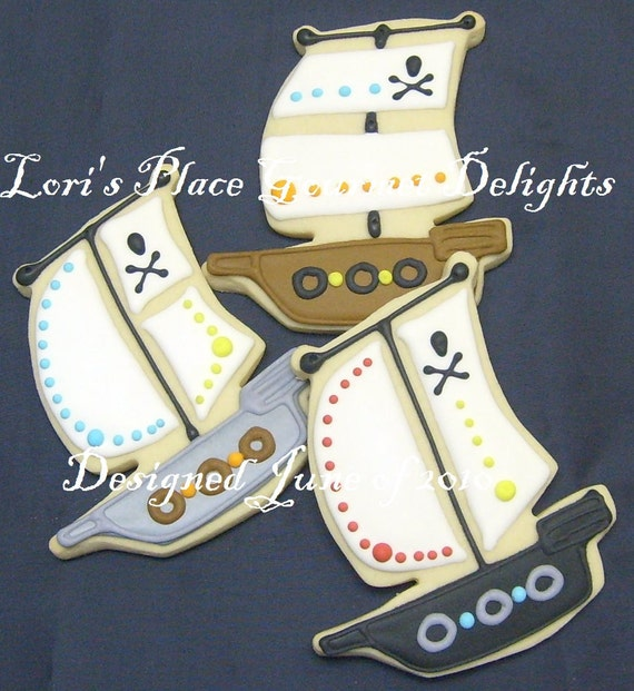 Reserved for Brrittany-----Pirate Ship Decorated Cookie Favors - Pirate Ship Cookies - 1 Dozen