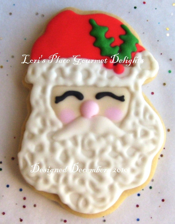 SANTA FACE Decorated Cookies - Santa Decorated Cookie favors - Christmas Cookies Gifts - 6 Cookies