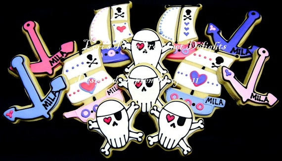Reserved for Alicia-----Girl Pirate Party - Pirate Ship - Skull and Bones - Anchor - Decorated Cookies - 12 Cookies