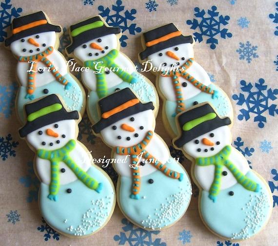 SNOWMEN Decorated Cookies - Snowman Cookie Favors - Christmas Cookie Decorated Cookies - Snowman Cookie Gift - 1 Dozen