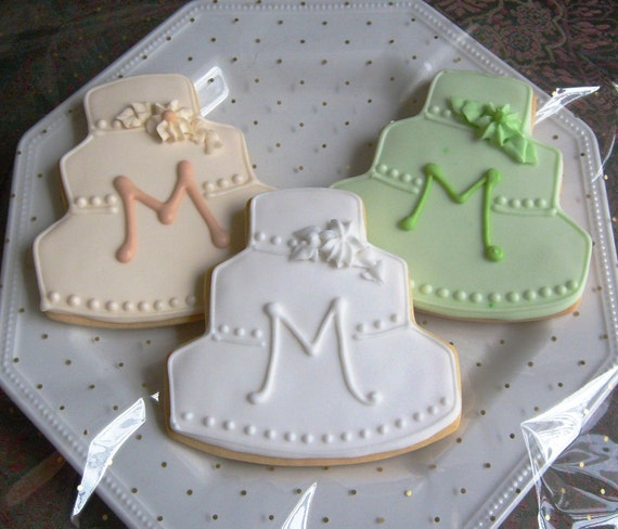 decorated wedding cake cookies simple monogram wedding cake cookie favors wedding cake 13376