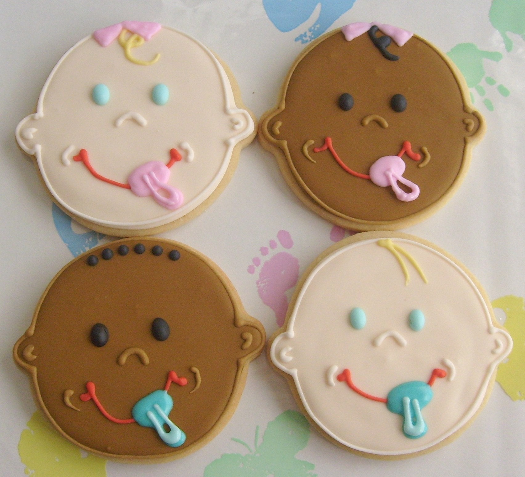 baby face decorated cookie favors baby shower cookie favors