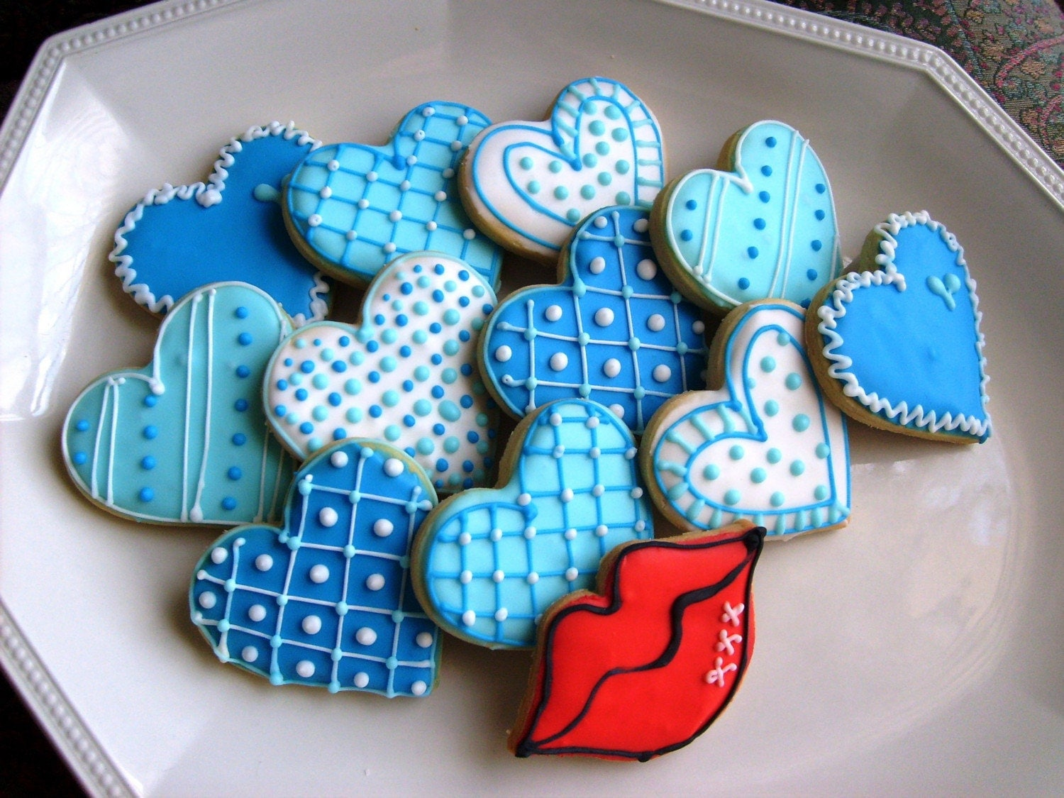 BLUE HEART COLLECTION Heart Decorated Cookies Heart Cookie