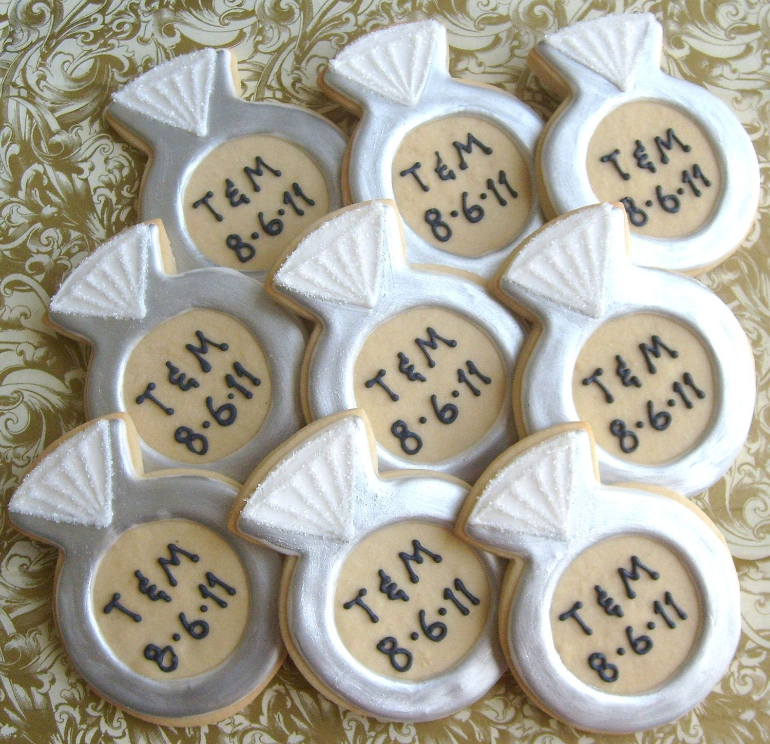 personalized diamond ring cookies diamond ring cookie favors