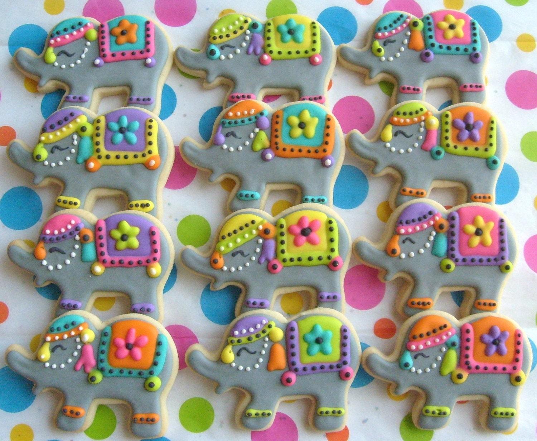 Circus Elephant Cookies Decorated 1 Dozen