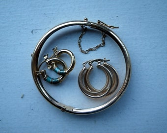 Gold Jewelry Lot - Two Earrings and Bracelets