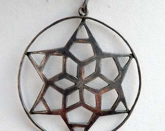 1960s Star Sterling Silver Geometric Cutout Sterling Necklace