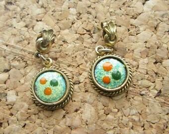 Delicate Enamel and Gold Drop Earrings