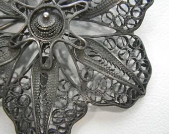Vintage Filigree Flower Pin Antique