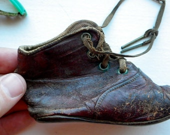 Antique Leather Child's Shoe - Handmade