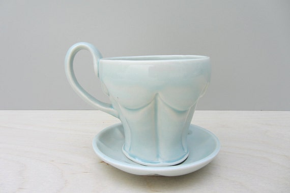 Robin's Egg Blue Darted Teacup and Saucer