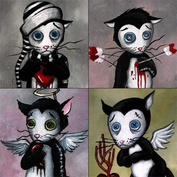 Valentines Day Morky the Cat Print Set