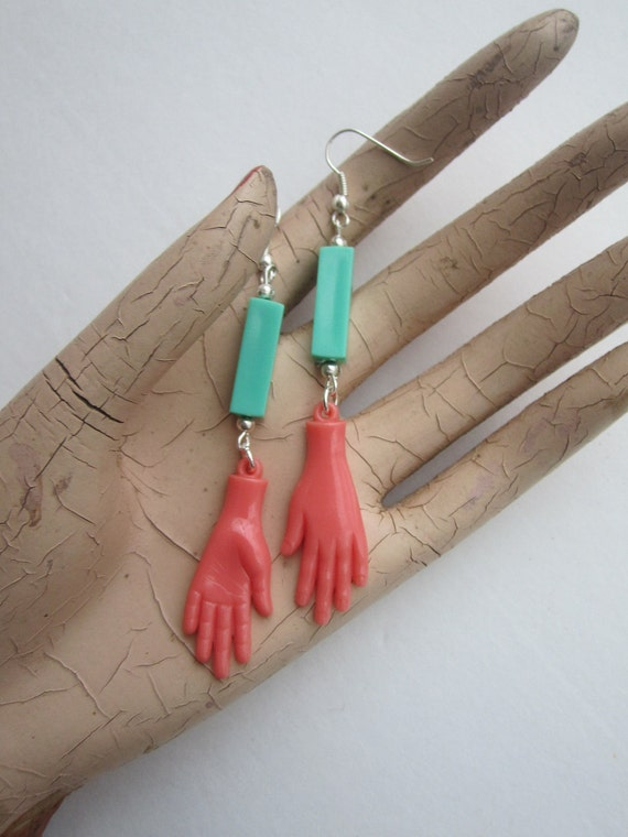 Frida Kahlo - Egyptian Heiroglyph Hand Earrings - Light Teal Rectangular Bead & Silver Tone