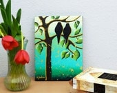 Birds Painting Turquoise Lovebirds Tree of Life Art
