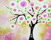 Pink Tree Painting - Original Acrylic Whimsical Art - Modern Cherry Tree of Life Wall Decor - 16x20
