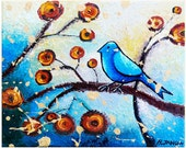 Whimsical Blue Bird Painting Original Folk Art Wall Decor - Acrylic on Canvas - Blue 8x10