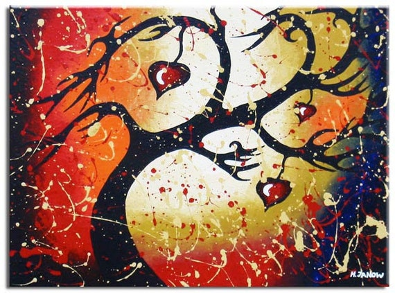 Tree of Life Inspirational Art - Red Hearts Original Acrylic Painting on Canvas - Hand Painted Wall Decor 18x24x1.5