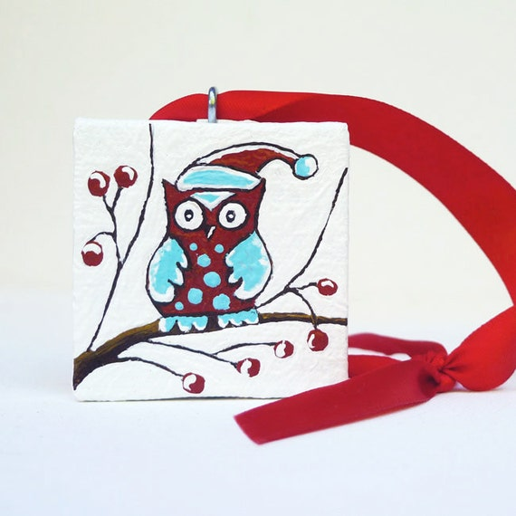 Acrylic Painting Christmas Tree Ornament - Bird Painting - Baby Owl Christmas Decor 2x2 - Black Friday Etsy Cyber Monday Etsy
