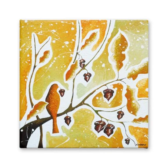 Abstract Painting, Bird Art Original Modern Art Acrylic Painting on Canvas, Oak Leaf Fall Art, Mustard Orange Fall Decor 12x12
